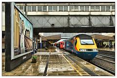 Rainy Days and Tuesdays (david.hayes77) Tags: class43 hst highspeedtrain leicester leicestershire leics 2018 hoarding 1d47 43046 rain shower footbridge midlandrailway poster centremk mml midlandmainline emt eastmidlandstrains