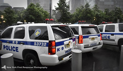 3 Generations of Port Authority Police Department Tahoes (nyfrp) Tags: port authority police department papd nypd new york city ny nyc state vehicle tahoe car policecar chevy responding lights sirens black stealth world trade center manhattan downtown west side fast rain