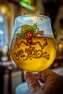 Glass of Cuvee de Trolls ( a 7% Blond)  Yesterday's World (Bruges) ( Fujifilm X70 Compact) (1 of 1)