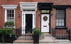 Black and white doorways, West 11th Street, Greenwich Village, New York (Spencer Means) Tags: dwwg architecture door doorway black white facade façade brick west 11th eleventh street greenwichvillage neighborhood manhattan newyork city urban house nyc ny