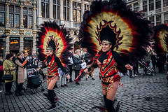 Those eighteen (Melissa Maples) Tags: brussel bruxelles brussels belgique belgië belgium europe nikon d3300 ニコン 尼康 sigma hsm 1020mm f456 1020mmf456 winter grotemarkt grandplace dancing costumes performers parade bolivia bolivian dancers