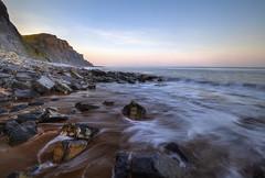 """ RICKETY LADDER ACCESS ONLY ~ HIGH TIDE "" (Wiffsmiff23) Tags: heritagecoastlinesouthwales cwm traeth beach longexposure hightide southwales sunrise sea ocean rocks"