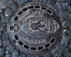 2018 - Romania - Bucharest - CANAL A.N.B. BUCURESTI (Ted's photos - For Me & You) Tags: 2018 bucharest nikon nikond750 nikonfx romania tedmcgrath tedsphotos vignetting bucuresti canalanb canalanbbucuresti manhole manholecover bucharestromania round bucurestiromania