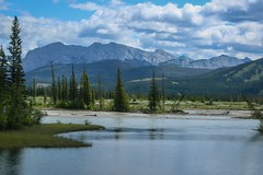 Jasper National Park (Jessie T*) Tags: viarail traintrip jaspernationalpark albertacanada canadianrockies valley athabascariver mountain sky clouds cans2s