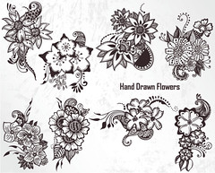 Hand Drawn Flowers Vector Set-1 (stockgraphicdesigns) Tags: blossom bouquet decor decoration decorative draw drawing elegant filigree floral flourish flowers freehand handdrawn nature ornamental ornaments ornate petal sketch sketchy swirl