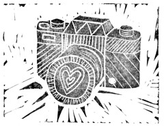 (Girl With Butterfly Wings) Tags: linocut print black camera heart love practice lino ink