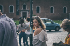 Euro for your thoughts... (8230This&That) Tags: europe italy mediteranean rome roma art culture history street streetpeople woman womaninthought thinking dreaming gazing romance busstop lazio it