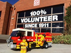 Queenscliff Fire Brigade (Lonnie.96) Tags: cfa country fire authority queenscliff victoria australia district 7 2018 medium tanker truck appliance vehicle red white yellow black wheels minifigure bar firefighter volunteer sign station perspective cabin back front left lights steps lego brick moc own creation display exhibit
