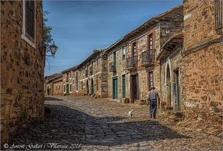 Walking the dog ( Castrillo de los Polvazares - León - Spain).