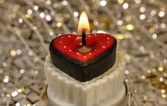 From the bottom of my heart!  ❤️ (Millie Cruz *) Tags: mybirthday birthday cake candle heart friends bokeh flickrfriends flame macro light