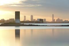 Boston (Sean M Richardson) Tags: boston skyline sunset reflection longexposure lee canon serene silhouette colour cityscape seascape beach water sky clouds sun light landscape city orange