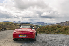 Adderville Red (syf22) Tags: car automobile auto autocar automotor motor motorcar motorised porsche porscheclubgb porscheboxster 981s boxster981s red guardsred softtop convertible sportscar germanmade madeingermany mamoregap wildatlanticway eire ireland scenic viewpoint drive route rear back backside tail tailgate ass arse behind