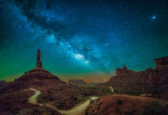 The Milky Way over Valley of the Gods near Bluff, Utah (diana_robinson) Tags: milkyway nightphotography nightstars nightsky stars dirtroad isolated remote noone nopeople valleyofthegods bluff utah