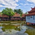 Lake and historic village replica in Muang Boran (Ancient Siam) in Samut Phrakan near Bangkok, Thailand thumbnail