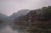 Sleepy Boats (Ash and Debris) Tags: houses asia old mist city boats town oldcity riverbank water china river phoenix house history morning fog oldtown village fenghuang boat