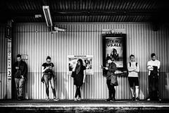 Personal space (Kieron Ellis) Tags: platform waiting people men man women woman phone hat candid street blackandwhite blackwhite monochrome