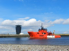"""""""Esvagt Champion"""" arriving into Aberdeen Harbour, Aberdeen, May 2018 (allanmaciver) Tags: esvagt champion denmark red white contrast standby safety vessel harbour master tower footdee torry north east scotland clouds weather may warm sunny saturday allanmaciver"""