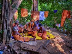 50 shades of Saffron and a Blue. (Prabhu B Doss) Tags: prabhubdoss travelphotography courtalam sadhu hermit monk forest saffron trip tripper seekers seeker seeking hindu westernghats tamilnadu