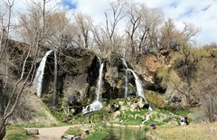 Fishin' Hole (Just Short of Spectacular!) (Patricia Henschen) Tags: rifle colorado riflefalls statepark coloradoparkswildlife waterfall spring westernslope mountains mountain triple 70 park pathscaminhos fishing waterfalls eastriflecreek creek travertine clouds reflection