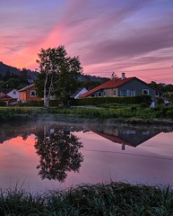 Early morning light (04:36 AM) (Vest der ute) Tags: xt20 norway rogaland haugesund puddle water landscape reflections mirror earlymorning softlight trees tree sky clouds serene houses grass flowers weed