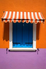 Colorful Window with Awning (perfectionistreviews) Tags: architecturaldesign architecturaldetail architecture awning building closed colorful copyspace edifice europe home italy lifestyle nobody orange purple shade shadow shuttered shutters stripes sunshine venice window color photograph vertical exterior outdoors striped
