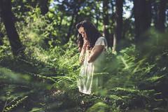 Marie (Chloé +++) Tags: portrait forest forêt woman life green trees arbres nature naturel white dark france occitanie canon dof depthoffield eos400d eos plants fougères