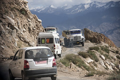 Only room for one at a time. (bag_lady) Tags: trafficjam ladakh india himalayas jammuandkashmir onlyroomforoneatatime truck narrowroad onthebend driving journey