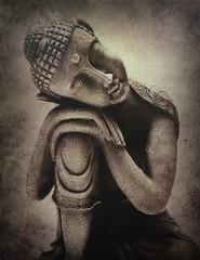 The Buddha from The Other Side (buddhadog) Tags: buddha 100vu sepia 500vu g2haiku friendlychallengewin sweeper 10faves ccc 3sweeps agcgsweepwinner 5wins 1000vu 1000