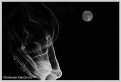 LA LUNA Y EL HUMO.  THE MOON AND SMOKE. NEW YORK CITY. (ALBERTO CERVANTES PHOTOGRAPHY) Tags: moon luna smoke monochrome blanconegro blackwhite photoart diseño design logo photography retrato portrait photoborder luz light color colores colors brightcolors brillo bright blackbackground blanco white negro black dark satelite satellite imaginative creation imagination impressivephoto colornight lightcolor impressive circle astronomy round nature serene supermoon fullmoon celestial space cosmic fire streetphotography flame fuego arte creative smokephotography