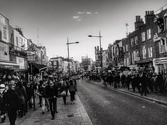 Crowded paths (LUMEN SCRIPT) Tags: dof cityscape granulosity grain blackandwhite citypulse city monochrome road pavement sidewalk path people streetphotography uk england london camdenmarket camden