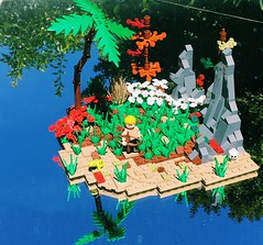 Starfish Island (Lian Yu) (bagira.norm2) Tags: art parrot water trees island bow custom moc comics dc green arrow queen oliver lego