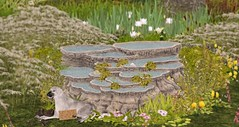 Cascading Rocks (Sannita_Cortes) Tags: gacha mooh thegachalife thesecretaffair tmcreation building decorating decoration furniture furnituredecor garden houseshomes secondlife sl virtualworld virtual virtualfurniture virtualdecoration decor animal dog pond rock nature virtualnature