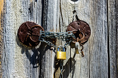 Egret Padlock (George Plakides) Tags: egret padlock chain rusty oldlock newlock gate wooden lofou