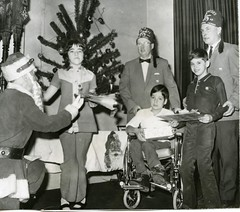 HC03874 (Community Archives of Belleville & Hastings County) Tags: 1970s parties christmastrees interiors wheelchairs shriners