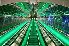 Green (Alex L'aventurier,) Tags: helsinki finlande finland green vert lines ligne métro metro subway stairs escalator escalier reflet reflection tunnel city ville urbain urban architecture light lumière