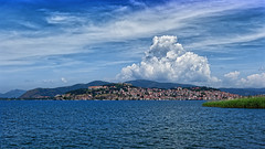 City Overrun By Clouds (Alfred Grupstra) Tags: sea blue nature summer mountain sky water scenics coastline landscape outdoors lake europe island town travel tourism harbor cloudsky vacations ohrid macedonia cloud