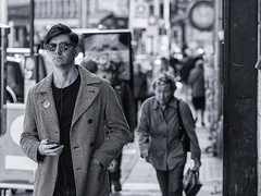 Yes Man (Frank Fullard) Tags: frankfullard fullard candid street portrait politics yes monochrome blackandwhite label lapel dublin irish ireland referendum tá