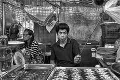 No flies on this guy! (FimRay) Tags: blackandwhite bw monotone monochrome thailand traditionalstreet thai people market street streetphotography asian asia