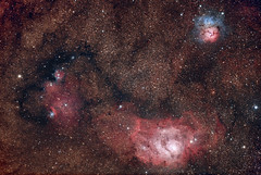 Lagoon and trifid nebula in Sagittarius (Valerio74) Tags: astrometrydotnet:id=nova2630913 astrometrydotnet:status=solved
