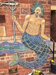 Merman Of Skinningrove (Glass Horse 2017) Tags: cleveland skinningrove mural ceramic mosaic tiles whitecliffeprimaryschool artist glynisjohnson flood 2000 local community mermaid merman trident fish sixpack themermanofskinningrove