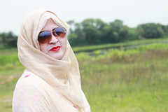 Reshma wearing my sunglass (rajib045) Tags: woman beautiful portrait sunglass hijab eid 2018 nature river girl red lipstick grass flickr eid2018