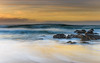 Dawn Seascape with Rocks and Waves (Merrillie) Tags: daybreak sunrise cloudy australia nsw centralcoast clouds sea newsouthwales rocks earlymorning morning water landscape ocean nature sky waterscape coastal seascape outdoors killcarebeach dawn coast killcare waves