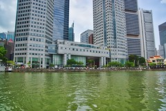 Boat Quay with Central Business District by the river in Singapore (UweBKK (α 77 on )) Tags: boat quay central business district cbd river water flow architecture building city urban singapore southeast asia sony alpha 77 slt dslr
