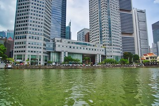 Boat Quay with Central Business District by the river in Singapore