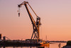 Sun setting on the crane Tipner Portsmouth (Meon Valley Photos.) Tags: sun setting crane tipner portsmouth ngc sea boats dock