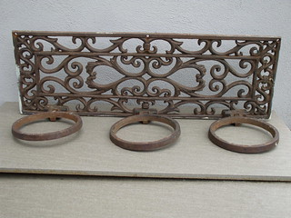 Vintage Ornate Heavy Rusty Cast Iron Garden Plant Holder