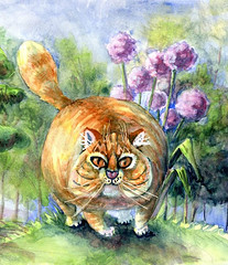 I heart Cat takes a walk in the woods-Aquanut watercolors on Harmony HP (molossus, who says Life Imitates Doodles) Tags: review giveaway watercolor harmony hotpressed