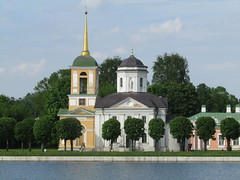 church in Kuskovo (VERUSHKA4) Tags: decor kuskovo bellhouse church kirchen city cityscape ville vue view canon europe russia moscow may spring springtime verdure primavera printempes ciel cloud green window culolas dome stairs roof water pond shore verushka4