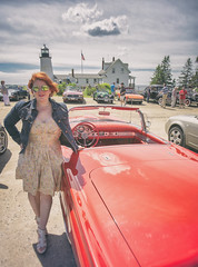 Kat with her T-Bird for the day :) / Owls Head Transportation Museum's Spring Auto Tour - Pemaquid Point Light, Maine (Jonmikel & Kat-YSNP) Tags: owlsheadtransportationmuseum maine me midcoast midcoastmaine mainecoast ohtm springautotour vintage car antique outside roadtrip tbird lighthouse