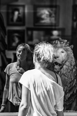 Lioness? (PaulHoo) Tags: nikon d750 blackandwhite lion lioness reflection girl woman blond antique amsterdam city citylife person people candid streetphotography 2018